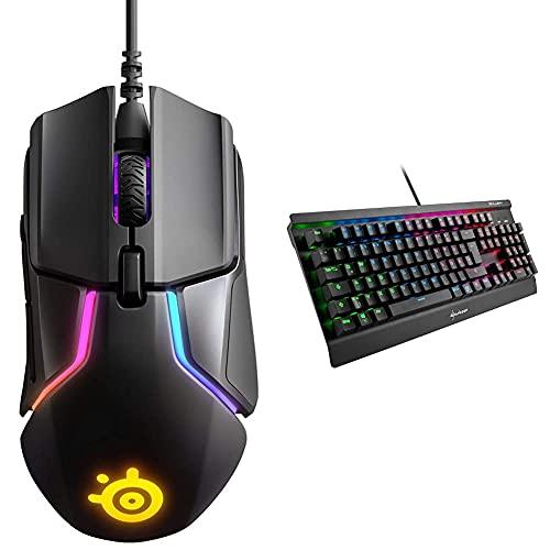 SteelSeries Rival 600 – Gaming-Maus – 12.000 CPI TrueMove3+ Dual Optical Sensor – 0,05 Lift-off-Distanz – Gewichtssystem & Sharkoon Skiller Mech SGK3 Mechanische Gaming Tastatur, schwarz