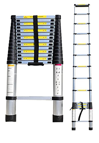 Échelle Télescopique Polyvalente, Echelle De Toit, Pliable Extensible Unique Droite Multi-Fonction Ladder Charge 330lbs (3.8M / 12.4 FT)