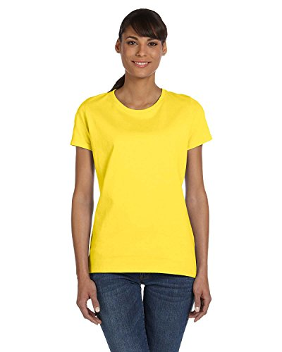 Fruit of the Loom Ladies 5 Oz HD Cotton T-Shirt - Yellow - M - (Style # L3930R - Original Label)