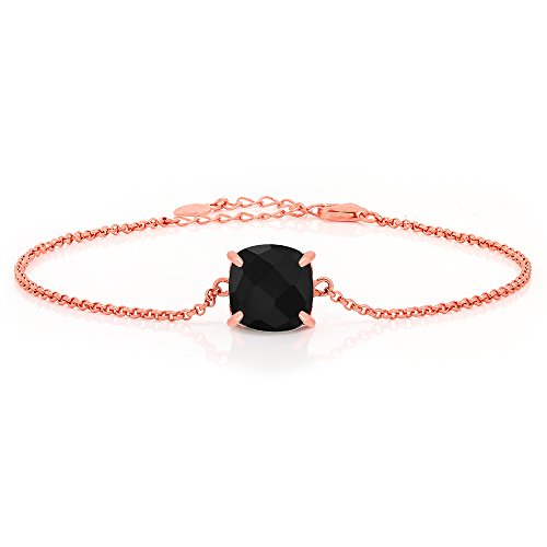 Gem Stone King Black Onyx Rose Gold Plated Silver Bracelet 3.75 Cttw Checkerboard Square 10MM