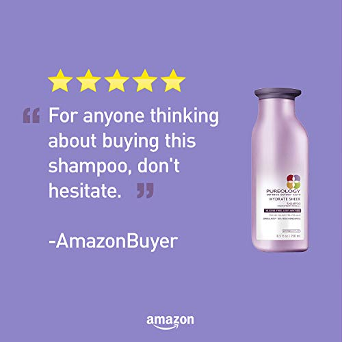 Pureology | Hydrate Sheer Moisturizing Shampoo | For Fine, Dry Color Treated Hair | Sulfate-Free | Silicone-Free | Vegan | 8.5 oz.