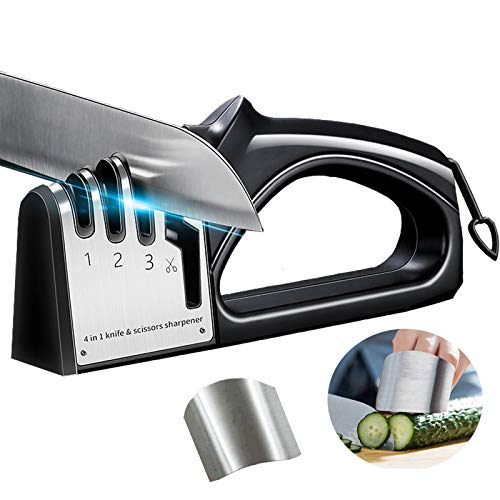 ナイフ研ぎ器 4-in-1キッチンナイフ/はさみ削り ほとんどのナイフに対応 ノンスリップベース 吊り下げリング付き スペースを節約 カット防止ツール