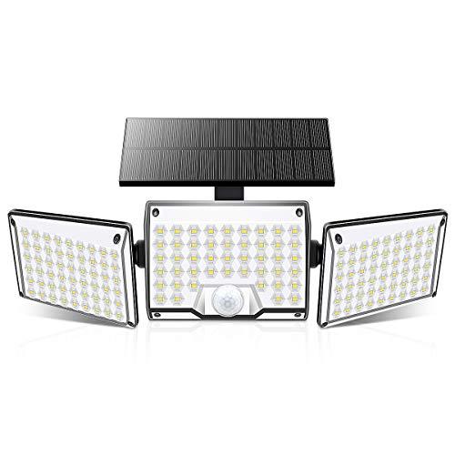 センサーライト ソーラーライト 屋外、SOLARMKS 3ヘッドワイヤレス屋外LEDソーラーライト、130 LED超高輝度ソーラーセキュリティライトIP65防水、ガーデンフェンスガレージヤード用の調整可能な角度照明