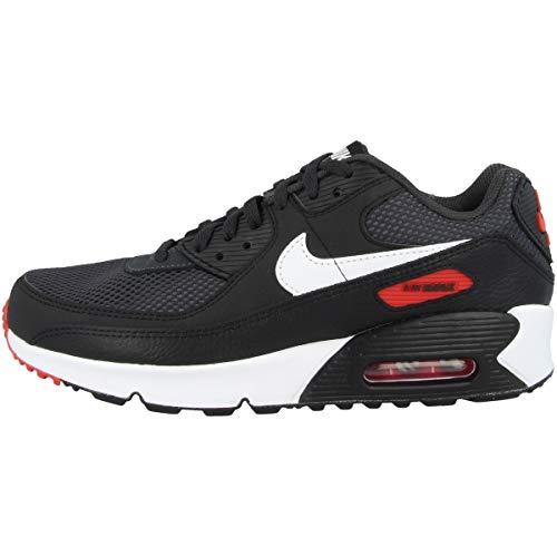 Nike Air MAX 90, Zapatillas, Dark Smoke Grey White Black University Red, 40 EU