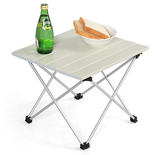 COSTWAY Campingtisch Falttisch Alu, Gartentisch Klapptisch mit Tragetasche, Picknick-Tisch für Outdoor, Wandern, Angeln und Grillen (Weiß, 40 x 35 x 32cm)