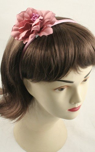 Aliceband - Fabric flower on narrow satin headband alice band[Pink] by Mias Accessories