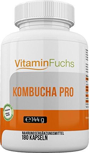 Kombucha Extrakt und Vitamin E hochdosiert und perfekt abgestimmt in Kapseln. Kombucha Pro 180 Kapseln von VitaminFuchs