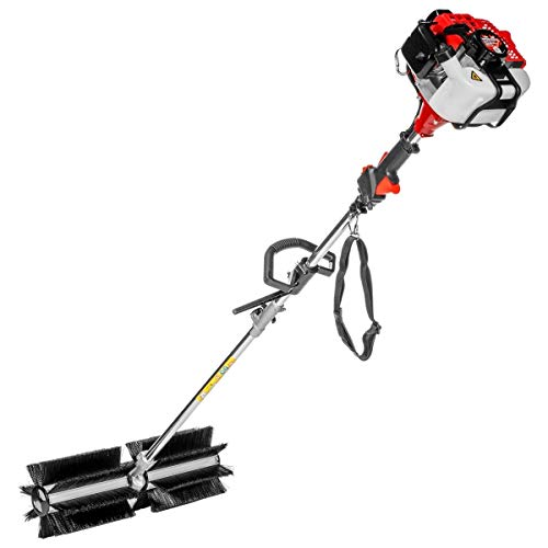 XtremepowerUS 42.7CC Walk Behind Handheld Gas Powered Sweeper Broom Concrete Driveway Cleaning Sweep Driveway Lawn Snow EPA