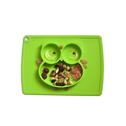 Zfwlkj Vajilla Infantil La Cena Plato Antideslizante Plato Vajilla Niños Silicona de Calidad Alimenticia Mantel de niños (Color : Green)