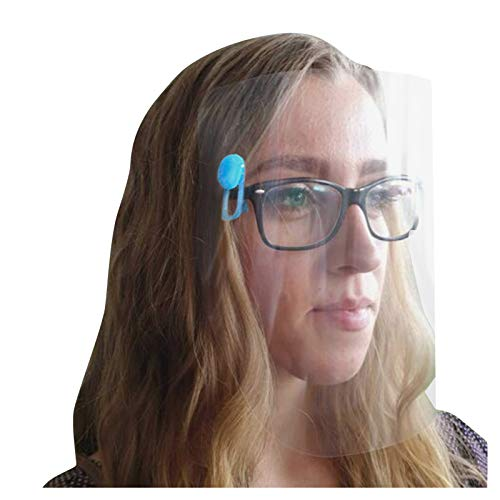 Visera de seguridad facial, decoración, clip sobre gafas, nuevo reutilizable transparente, decoración facial [5 unidades]