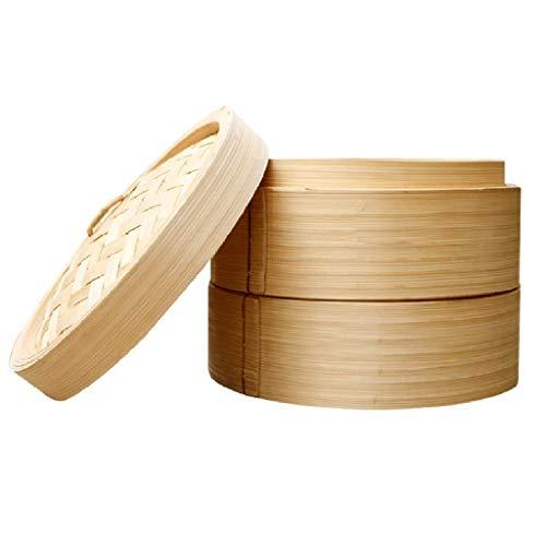 Juego de vaporera de bambú, Cesta de vaporera de Madera Aumentada para Cocina, Cesta de Vapor Natural Saludable, vaporera pequeña Comercial para Verduras Dim Sum Dumpling Bun Huevo Bamb