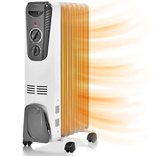 COSTWAY Oil Filled Radiator Heater, 1500W Portable Space Heater with Adjustable Thermostat, 3 Heat Settings, Overheat and Tip-Over Protection, Electric Room Heater for Bedroom, Indoor use, Gray