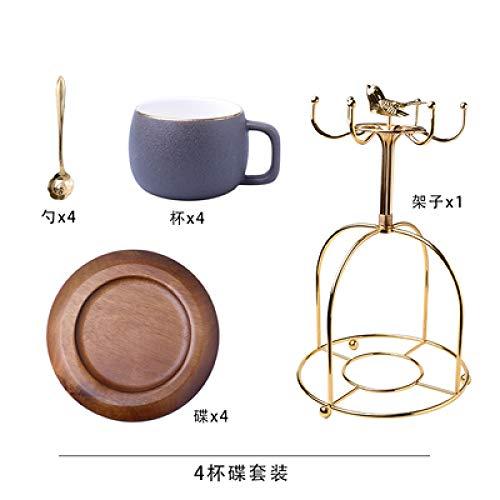 Hochwertiges Steingut Gold Seite Kaffeetasse Set Kleine Luxus Persönlichkeit Keramik Nachmittagstee Tee-Set Büro Tasse grau x 4 Sätze 300ml