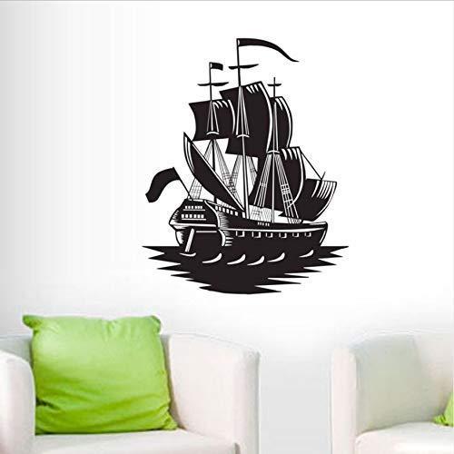 Barco Pegatinas De Pared Decoración Del Hogar Sala De Estar Pegatinas De Pared Desmontables Vinilo Barco Pirata Pegatinas Niño 59X73Cm