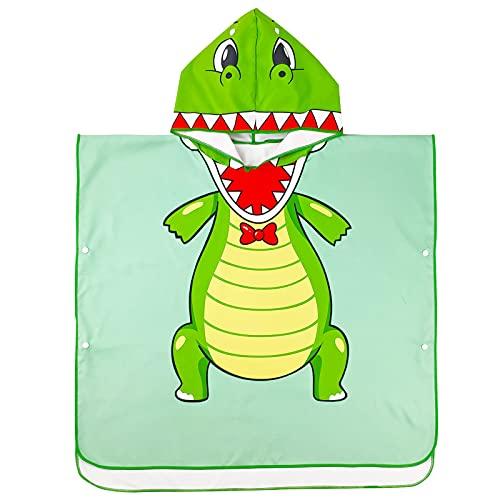 Albornoz con Capucha para Niños, Toallas de Baño para Niños y Niñas, Toalla de Baño Algodón Absorbente Toallas para Bañera Playa Ropa de Dormir Mantas de Natación, Dinosaurio Verde ⭐