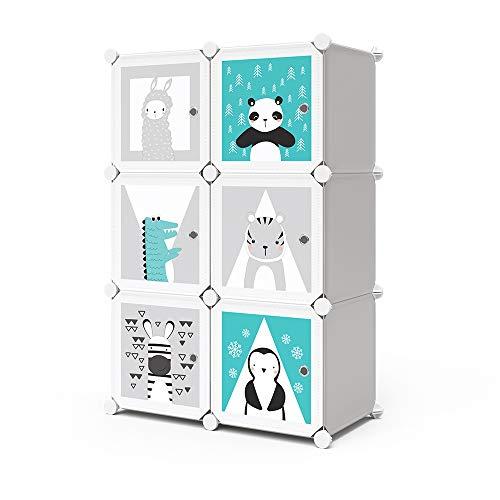 Vicco Kleiderschrank Andy Kinder Regal DIY modular 6 Fächer Kleiderstange Steckregal (Grau)