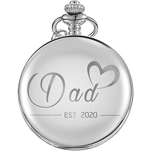Reloj de Bolsillo Regalos de Dad EST 2020 para Nuevo Padre Primera Vez Ser Padre Esparar ser Padre (Plateado)