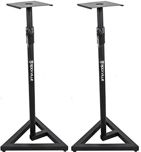 Rockville RVSM1 Pair of Near-Field Studio Monitor Stands w/ Adjustable Height,Black