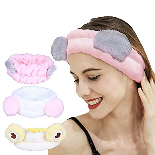 COMVIP 3 unidades bandas elásticas para el pelo de coral de felpa de maquillaje facial lavado de la cara diadema para mujeres y niñas cosméticos faciales diademas yoga deportes pelo envoltura