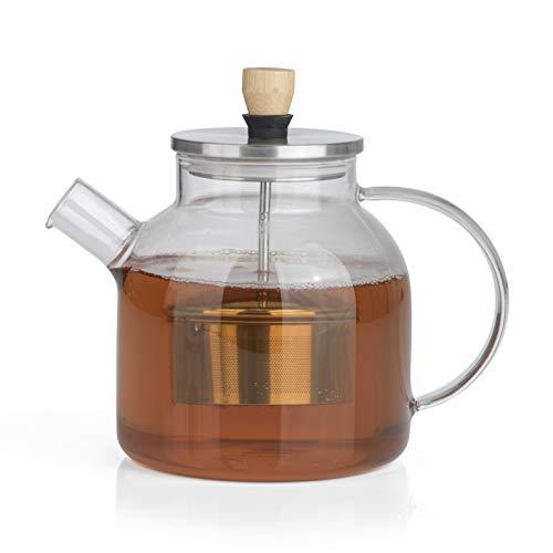 BEEM TEEKANNE Glaskanne mit Siebeinsatz - 1 l | Teekanne Glas | Sieb Edelstahl mit Hebefunktion | Hitzebeständiges Glas | Für heißen Tee oder Eistee