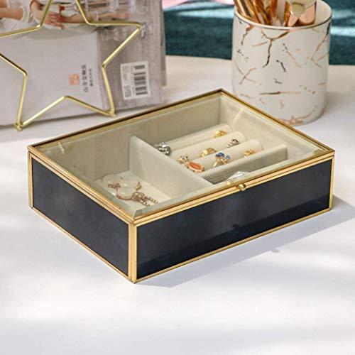 Caja de joyería Caja de joyería de cristal transparente Organizador de joyería de terciopelo Elegante apariencia de mármol y marco chapado en oro para Pulsera de anillo de collar de pendiente, caja de