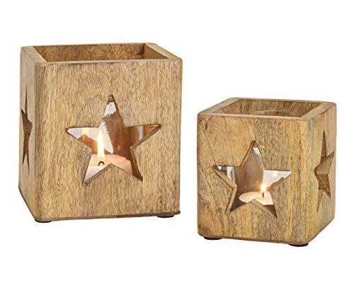 Windlichthalter 2er Set aus Mango Holz - mit Glaseinsatz/im Stern Dekor - Holz Teelicht Halter Kerzenhalter