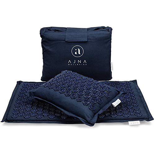 Ajna Acupressure Mat and Pillow Set - Ideal for Back Pain Relief and Neck Pain Relief - Advanced Stress Reliever - Muscle Relaxant - Free Tote Bag - Eco Lite (Ocean Blue)