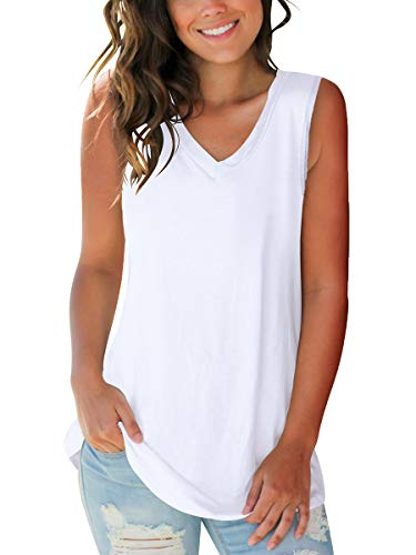 SAMPEEL Summer V Neck Tank Tops Women Summer Cute Teens Cami Shirt Basic Tanks Workout XL
