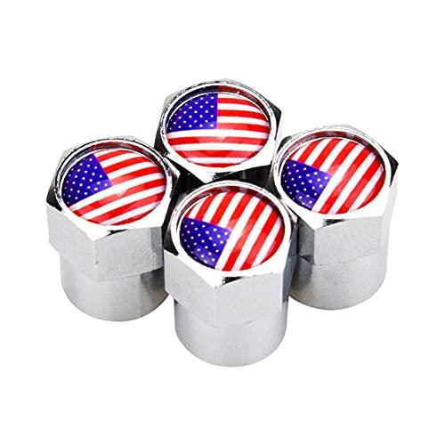 4 unids coche válvula de neumático tapa tapa de vástago americano bandera modificada cubierta de válvula automóvil tapa de neumático tapa cromo auto accesorios profesionales Accesorios para llantas