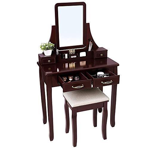 Coiffeuse Fille 360 Miroir Rotatif Maquillage En Bois Vanity Table Et Tabouret Ensemble Peut être Placé Comme Une Commode Cosmétique Dans La Chambre ( Color : Brown , Size : 80*40*135cm )