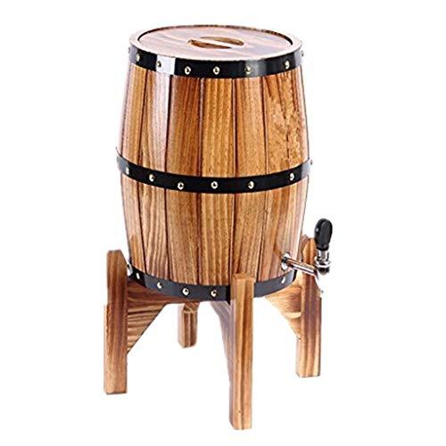 HWhome Vino Tinto Vertical Barrica De Roble Barril de Roble de 5L, Barril de Vino Vertical con Grifo de Acero Inoxidable for Cerveza y Licores (Color : Brown, Size : 5L)