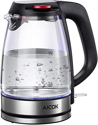 Kettle AICOK 1.7L Glass Electric with LED Blue Light, Auto Shut-Off & Boil-Dry Protection, BPA-Free Cordless Electric Kettle, Quiet Fast Boil, Durable Schott Glass