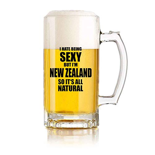 Jarra de vidrio para cerveza I Hate Being Sexy But Im New Zealand Funny - Regalo de cumpleaños perfecto para hombres y mujeres, 16 oz