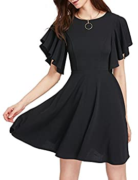Romwe Women s Stretchy A Line Swing Flared Skater Cocktail Party Dress Black L