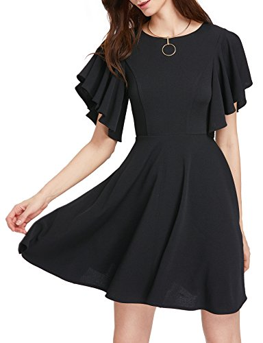 Romwe Women's Stretchy A Line Swing Flared Skater Cocktail Party Dress Black S