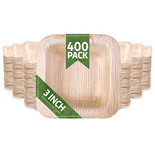 400 Pack of 3' Square Disposable Palm Leaf Plates Bowls Set - Sturdy & Elegant - Camping Party Home Use - Biodegradable & Compostable - by Eko Future