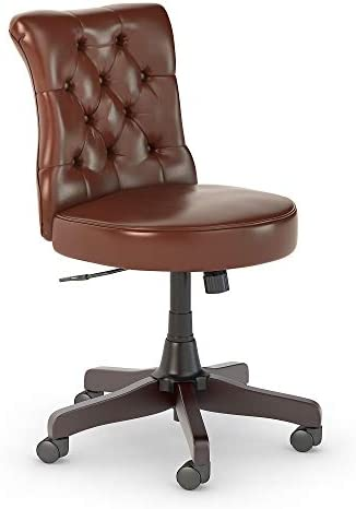 Best Bush Business Furniture Arden Lane Mid Back Tufted Office Chair, Harvest Cherry Leather