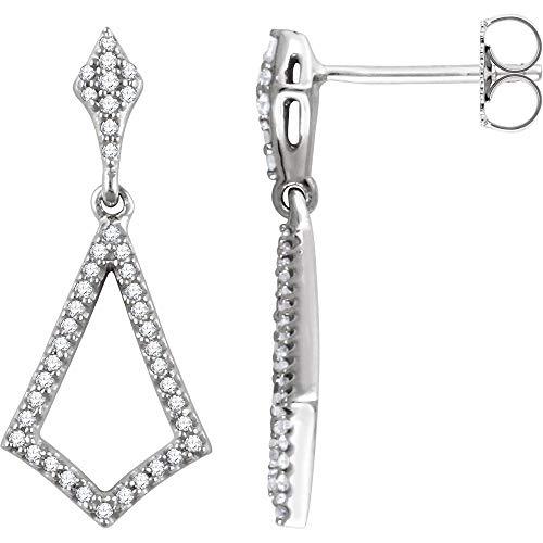 Pendiente de diamantes de oro blanco de 14 quilates (1/4 cttw)