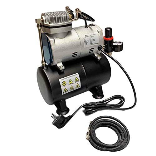 DOMINTY 1/6 PS Airbrush Kompressor ölfrei Airbrushkompressor Luftabgabe 20-23 l/min Luftkompressor Einzylinder Kolbenkompressor AS186 4 Bar Abschaltautomatik 1450/1750 U/min Auto-Stop