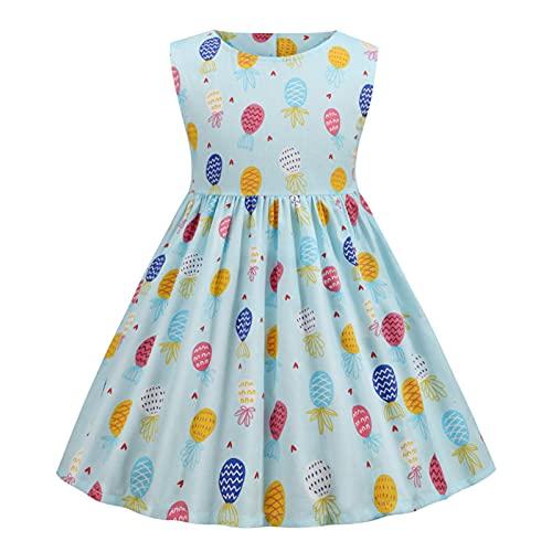 LOKKSI - Vestido de algodón sin mangas para niñas y niñas, cuello redondo, estampado floral de flores, estampado de frutas y flores, estilo vintage