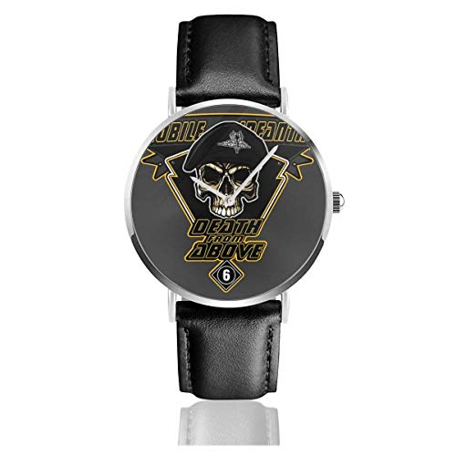 Tod von Oben Mobile Infanterie Starship Troopers Uhren Quarz Lederuhr mit schwarzem Lederband für Sammlung Geschenk