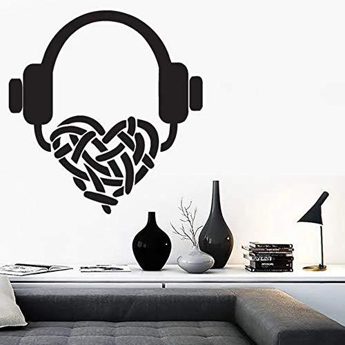 yaonuli Muurtattoo koptelefoon luisteren naar favoriete muziek vinyl muursticker slaapkamer woonkamer Home decoratie ideeën