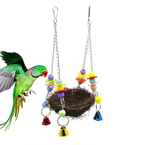 Jouet oiseau Parrot Maison Chew Jouets Suspendus Cockatiel hamac Nid Perruche Oiseau d'animal familier Morsures Chew (Color : A, Size : 12cm)