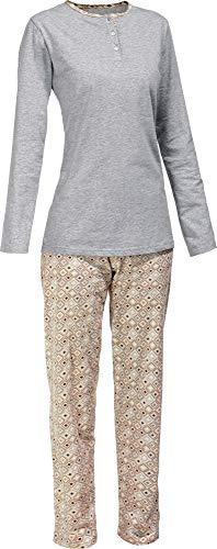 Erwin Müller Damen-Schlafanzug, Pyjama, Zweiteiler, Nachtwäsche Single-Jersey Melange Sand Größe 38 - anschmiegsam, mit V-Ausschnitt, Hose mit abgestepptem Gummibund (100{430c72e635bbacbe2c9e189d816d4b0ca92a0484c7712d72e2880708706f4b2e} Baumwolle)