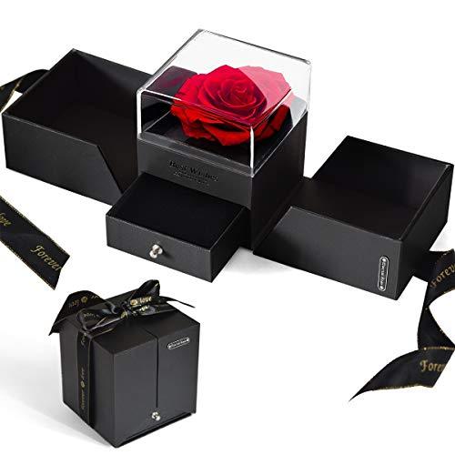 Ewige Rose Geschenkbox Schöne und das Biest Ewige Rose im Schmuckschatulle Konservierte Blumen Rosenbox für Frauen zum Valentinstag Muttertag Geburtstag Jahrestag Geschenk für Sie