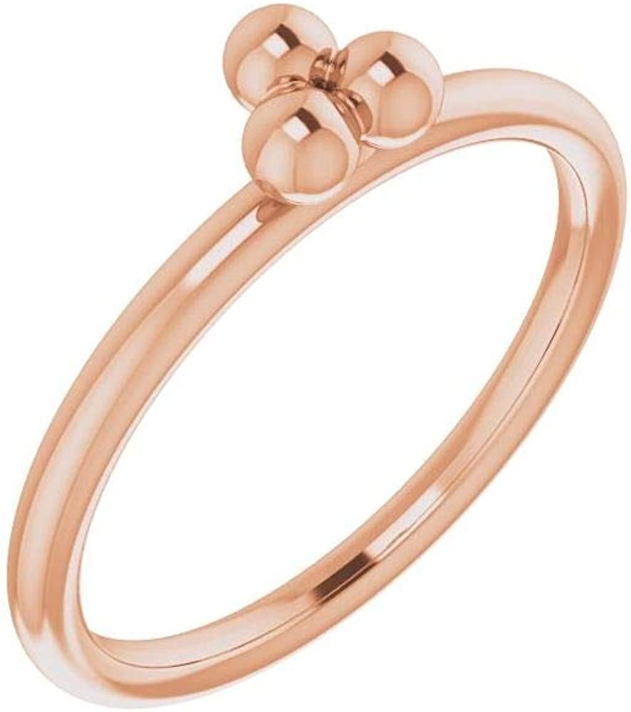 Solid 14k Rose Gold Omaha Mall Stackable Anniversary Ba Wedding Beaded Ring Max 44% OFF