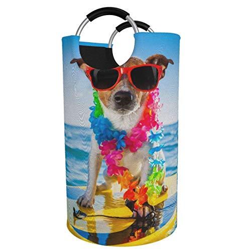 VLKFK Cesto de lavandería para Perros en Tabla de Surf, cesto de lavandería Plegable Impreso, cestas organizadoras de contenedores Grandes con Asas 82L