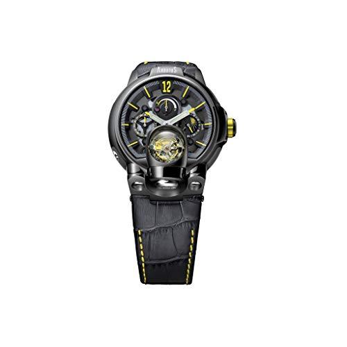Reloj de pulsera automático para hombre Arbutus, con correa de piel negra, esqueleto mecánico (reloj automático con mecanismo automático sin pilas)