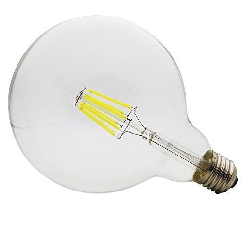 G125 Bombilla LED 8W E27 Ángulo de haz de 360 grados, LED Globo Edison Filamento Bombilla para Habitación, Comedor, Estudio, Cafetería, Pasillo, Salón, Bar (Luz blanca fría 6500K)