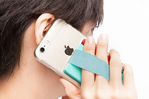 Sinjimoru Smart Wallet mit Handy Fingerhalterung, Slim Wallet/Kartenhalter/aufklebbare Mini Geldbörse mit Handschlaufe für die Einhandbedienung. Sinji Pouch Band, Mintgrün